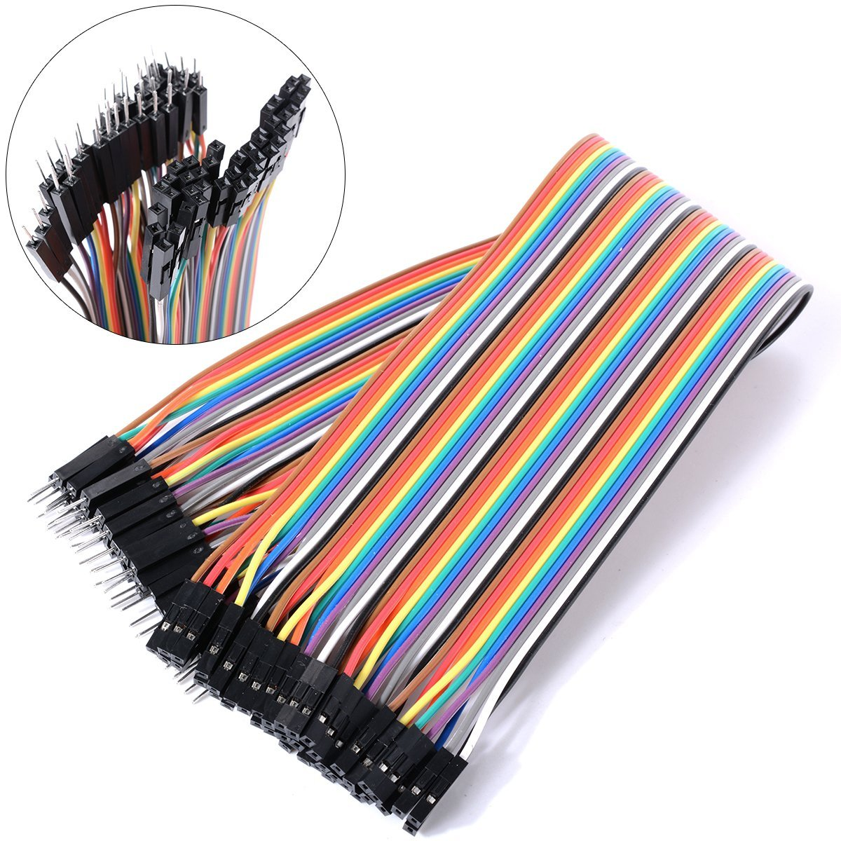 40pc Dupont Wire Jumper Cable 1P-1P 2.54mm female to Female length 20cm