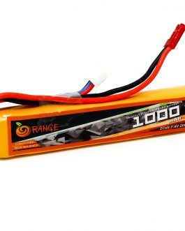 Orange 1000mAh 2S 20C/40C (7.4v) Lithium Polymer Battery Pack (Lipo)