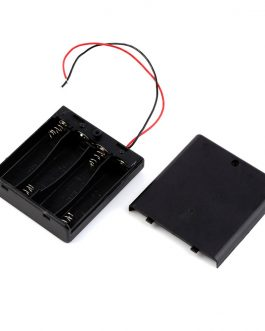 Black Plastic Storage Box Case Holder For Battery 4 X AA Cell Box with On/Off Switch