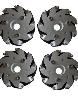 A set of 100mm Aluminium Mecanum wheels Basic (Bush type rollers)-(4 pieces)
